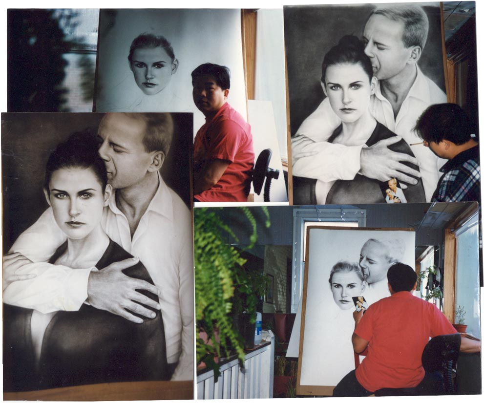 Here are 4 pictures of Bruce Willis and Demi Moore