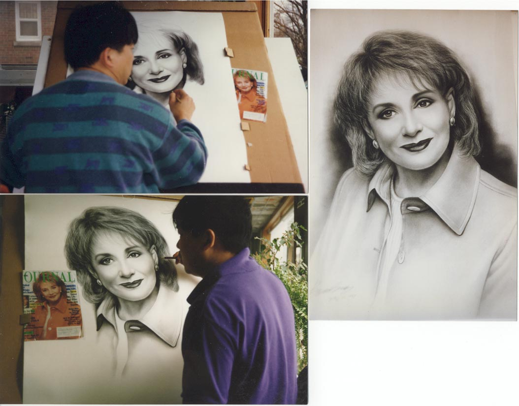 3 pictures of Barbara Walters