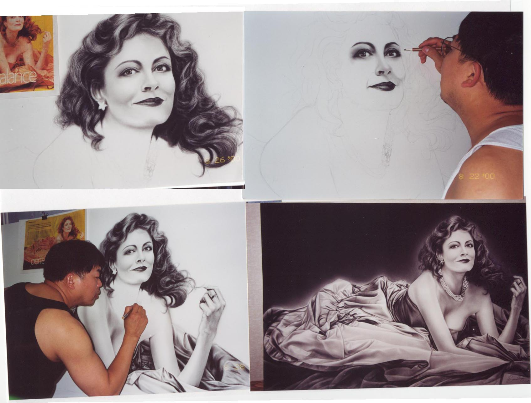 Here are 4 pictures of Susan Surandon being drawn