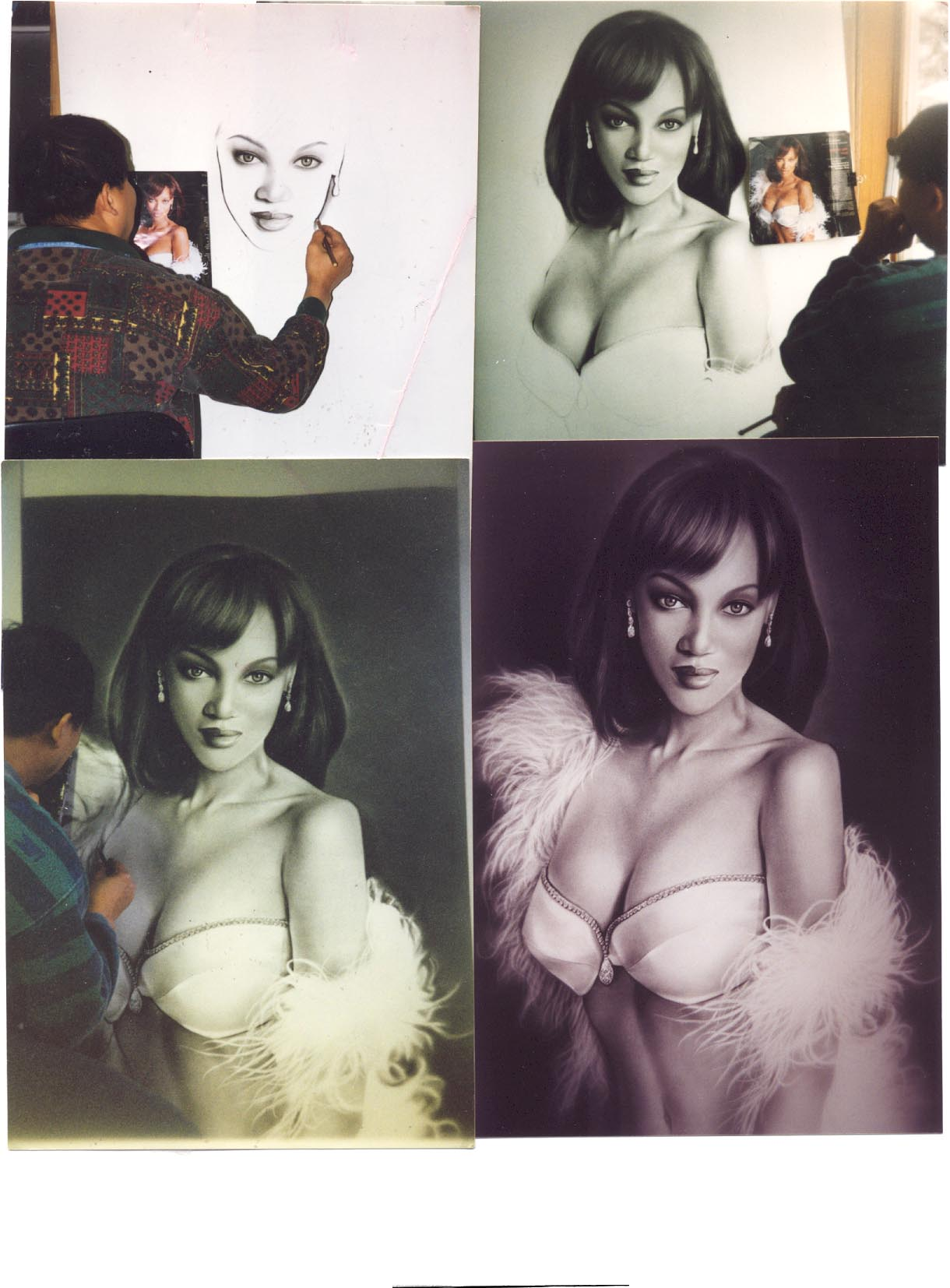 These are 4 pictures of Tyra Banks.